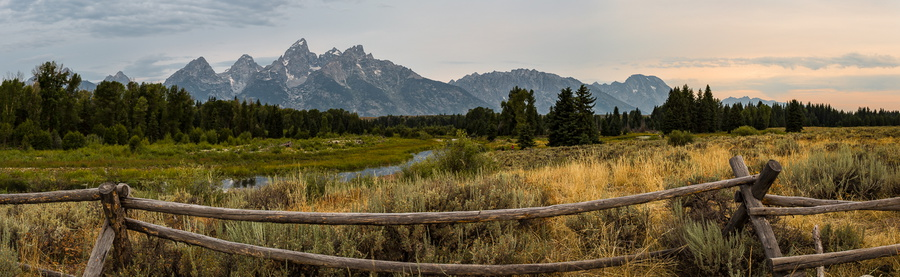 Panoramic Tetons with Fence