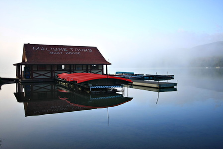 Boat House in the Fog