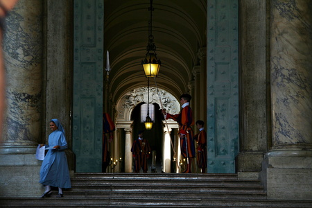 Swiss Guard and a Nun