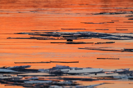 Orange Sunset on the Ice #3