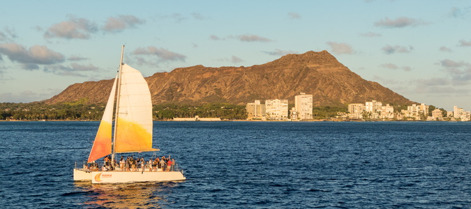 Diamond Head and Sailboat